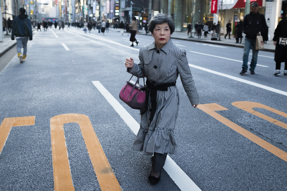 Well dressed elderly japanese woman